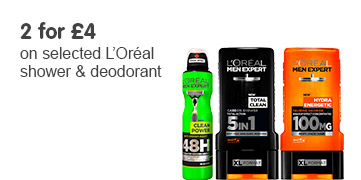 2 for £4 on selected L'Oreal Deodorant and Shower