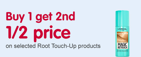 Buy 1 get second half price on selected root touch up