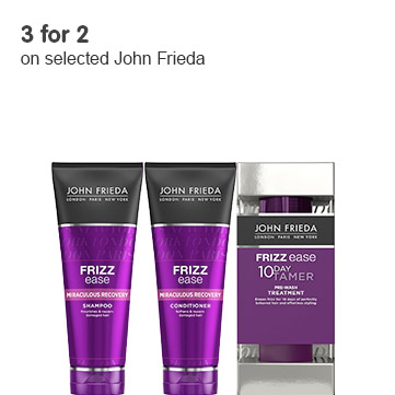 three for two on selected john frieda
