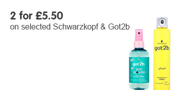two for five fifty on selected schwarzkopf and got2b