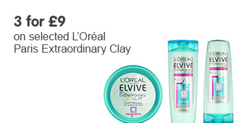 three for nine pounds on selected loreal clay