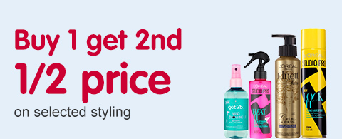 Buy 1 get 2nd 1/2 price on selected Styling