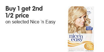 Buy one get second half price on selected nice and easy