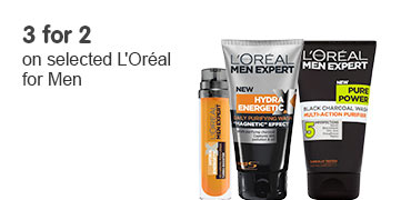 3 for 2 on selected Loreal Men