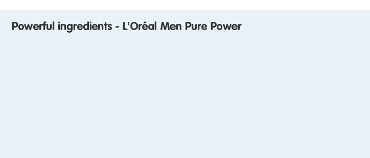 Powerful Ingredients - L'Oréal Men Pure Power