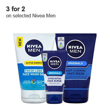3 for 2 on selected Nivea Men