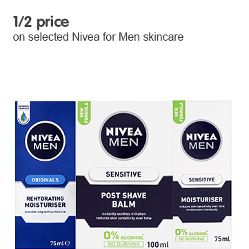 1/2 price on selected Nivea for Men skincare