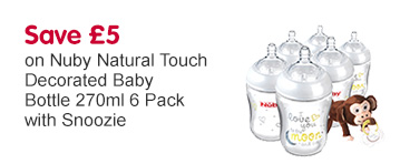 Save £5 on Nuby Natural Touch decorated baby bottles 6 pack