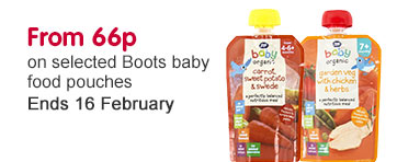 From 66p on New boots baby food pouches