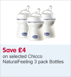 Save £4 on selected Chicco NaturalFeeling 3 pack bottles