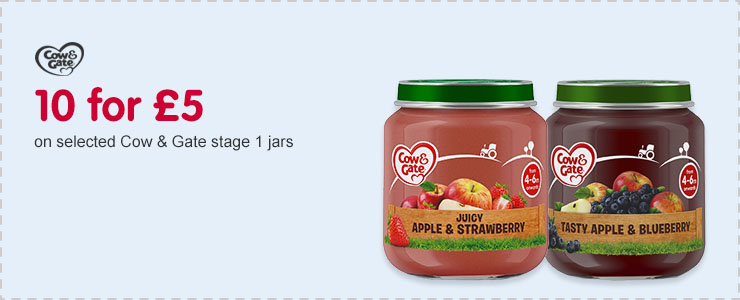 10 for £5 on selected Cow & Gate stage 1 jars