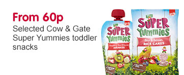 From 60p on selected Super Yummies toddler snacks