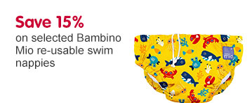 Save 15% on selected Bambino Mio re-usable swim nappies