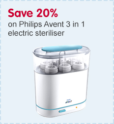 Save 20 percent on Philips Avent 3 in 1 steriliser