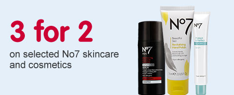 3 for 2 on selected No7 skincare and cosmetics - cheapest free