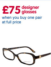 £75 designer glasses when you buy one pair at full price