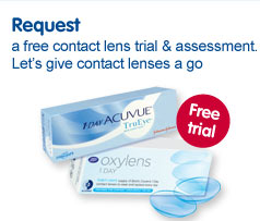 Request a free contact lens trial & assessment. Let's give contact lenses a go