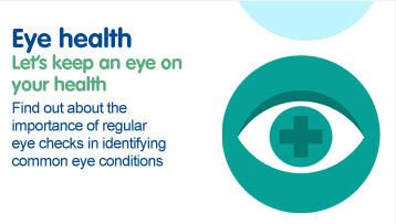 Eye Health. Let's Keep an eye on your health. Find out about the importance of regular eye checks in identifying common eye conditions