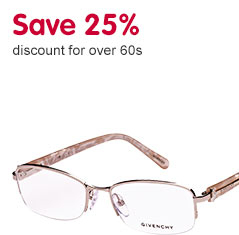 Save 25% on glasses and sunglasses for over 60s