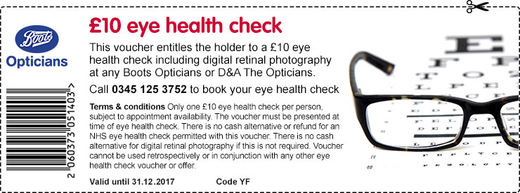 £10 discount voucher for Boots Opticians