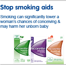 Stop smoking aids. Smoking can significantly lower a women's chance of getting pregnant & may harm her unborn baby. Contains nicotine. Requires will power. Always read the label.