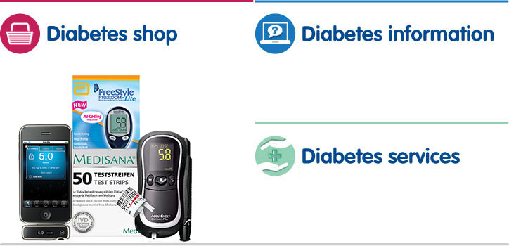 Diabetes shop, diabetes information, health and pharmacy services