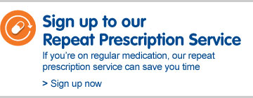 Sign up to our repeat prescription service. If you're on regular medication, our repeat prescription service can save you time. Sign up now
