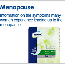 Information on the incontinence symptoms many women experience leading up to the menopause
