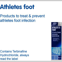 Athletes foot. Products to treat and prevent athletes foot infection