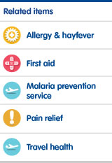 Allergy and hayfever, first aid, malaria prevention service, pain relief, travel health