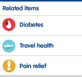 Diabetes, travel health and pain relief