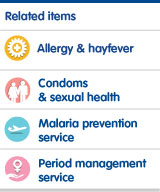 Allergy and hayfever, condoms and sexual health, malaria prevention service, period management service