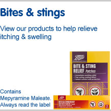 Bites and stings. View our products to help relieve itching and swelling
