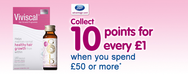 Healthcare collect ten points for every pound when you spend fifty pounds or more