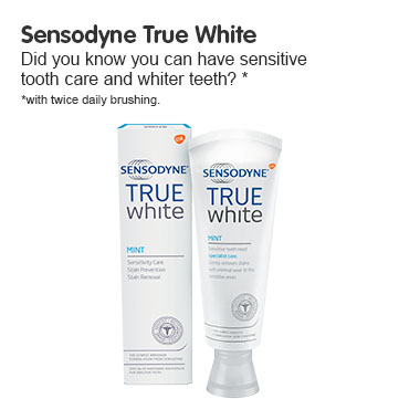 Sensodyne - True White  10x less abrasive than many everyday whitening toothpastes