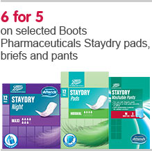6 for 5 on selected Boots Pharmaceuticals Staydry pants, briefs, and pads