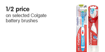 1/2 price on selected Colgate battery brushes