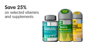 Save 25% on selected vitamins and supplements