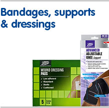 Bandages supports and dressings