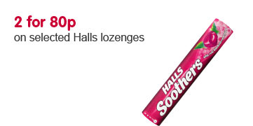 2 for 80p on selected Halls lozenges