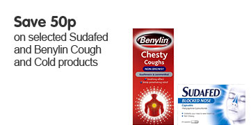 Save 50p on selected Sudafed & Benylin Cough & Cold products