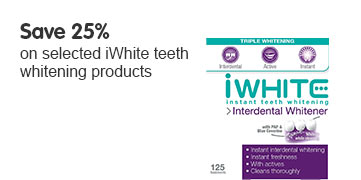 Save 25% on selected iWhite teeth whitening products