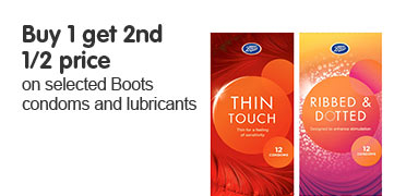 Buy 1 get 2nd half price on selected condoms and lubricants