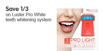 Save 1/3 on selected Luster teeth whitening