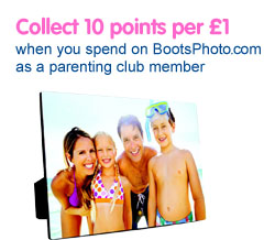 Collect 10 points per £1 when you spend on Boots Photo as a Parenting Club member