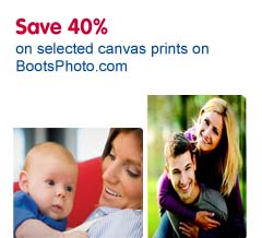 40% off canvas prints from Boots Photo