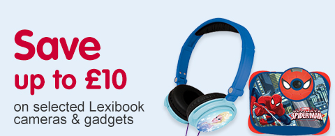 Save up to £10 on selected on selected Lexibook cameras & gadgets