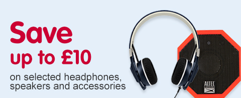Save up to £10 on selected  headphones, speakers and accessories