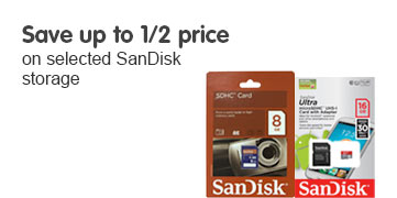 Save up to half price on selected SanDisk Storage