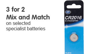 3 for 2 mix and match on selected specialist batteries